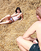 Naughty teenage brunette gets pounded hard in a haystack