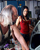 Stunning teen babe fucking an old mechanic in his garage