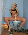Blonde chick needs to visit the toilet for a cock in her sli
