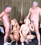 Two blonde beauties sharing two seniors their stiff cocks