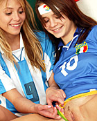 Two soccer loving teenagers love to fuck each others pussy