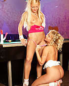 Two lesbian blondes toying both their tight pleasure holes