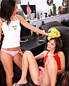 Two teeenage girlfriends playing with their favorite dildos