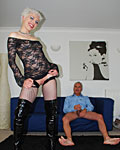 Senior sticks his big cock in a real British slut her ass
