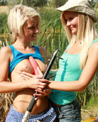 Two cute blonde teenies enjoying the sexy nature together
