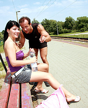 Cute teenie brunette gets a big facial on the train track