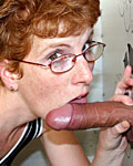 This slutty redhead loves big anonymous guys to suck off