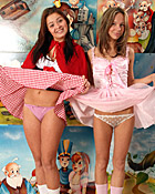 Two lesbian teenage girls toying each others fairytale pussy
