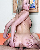 Horny sweetie penetrated in her ass and jizzed on the couch