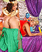 Two cute lesbos are having a horny teenage dressup party