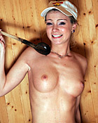 Horny babe masturbates her wet pussy alone in the sauna