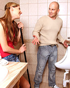 Hot blonde sweetie willingly toiletfucked by horny dude