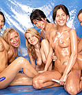 Seven cute naked babes covered in sticky oil posing together