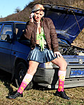 Hot girl with car trouble banged by horny old guy outdoors