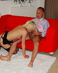Willing and hot blonde slut banged by a horny senior dude