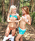 Cute and horny lesbian teen lovers playing in the forest