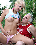 Old fart fucked very hard by hot young horny babe outdoors