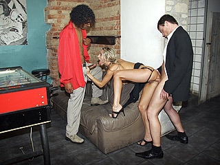 Blonde girl has interracial sex at her naughty birthdayparty