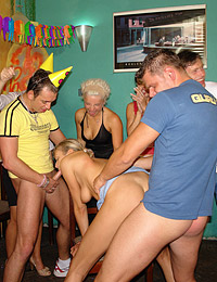 Blonde teen getting a sticky messy facial at horny party