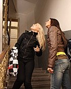 Hot lesbian teenage fucking action in stairhouse pictures