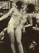 Real vintage lesbians playing with dildos made from wood