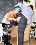 Sweetie screwing the horny senior teacher for good grades