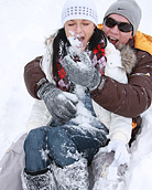 A very cold teenager shagging her boyfriend in the snow