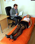 Horny paid doctor examins his patients wet pussy carefully