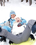 Two sexy lesbians very horny playing in the snow with toys