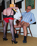 A horny dude spanking a dressed up street slut hardcore