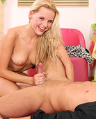 A very hot teenage blonde gives her horny boyfriend head