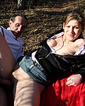 Horny young and old couple shagging in a forest publicly