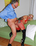 Horny british stripper playing with a real baton in her muff