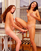 Two horny teenage lesbians love playing with big dildos
