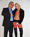A horny girl wearing red stockings banged by an old guy