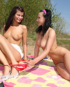 Two teenage cuties exploring eachothers hot body outdoors