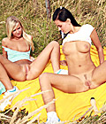 Very hot lesbian picknick outside with a few big dildos