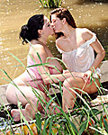 Lesbian teenage cuties love fondling eachother in the lake