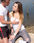 Very horny brunette fucked near a lake hardcore by boyfriend