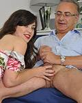 A brunette wearing stockings fucked by a very horny senior