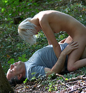Hot innocent girl fucked outdoors in the forest hardcore
