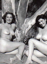 Real vintage outdoor girls enjoy playing in the fifties