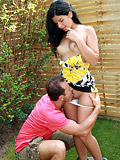 Teen cutie gets fucked hard and fast outdoors in garden