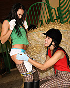 Horny naked teenage lesbian pussy eating in the stables