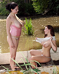 Naturally big titty teen lesbians playing together in lake