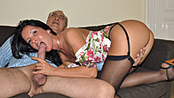 Old fart shagging a much younger hottie doggystyle hardcore
