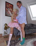 Horny senior chap shagging a willing blonde beauty hard