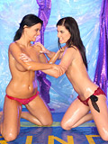 Hot and horny oiled teen lesbians wrestling for a dildo