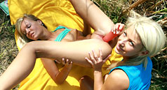 Cute teen lesbians playing with each others pussies by lake