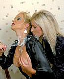 Hot blonde babes having a slimey fun time with fake cock